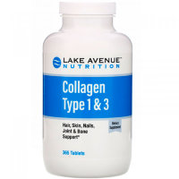 LAKE AVENUE NUTRITION Hydrolized Collagen 1&3 Types 1000 мг (365 таблеток)